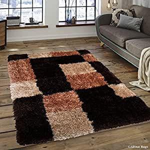 """Allstar 8 X 10 Brown with Mocha Tetris Printed Thick Soft with Shaggy Area Rug (7' 7"""" X 10' 4"""")"""