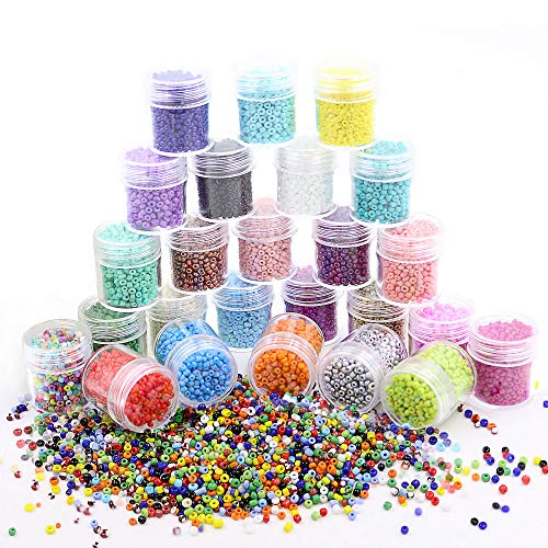 (Porcelain Round Glass Seed Beads 2mm - Loose Spacer Beads 25 Colors (About 20000pcs) Pony Beads with Hole for DIY Craft Bracelet Necklace Jewelry Making)