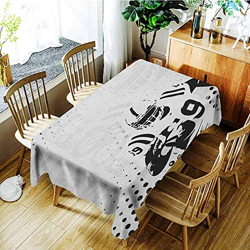 XXANS Washable Tablecloth,Sports,American Football Character Running Passing Gridiron Goal Dotted Art Graphic Design,Table Cover for Dining,W60X90L Black White