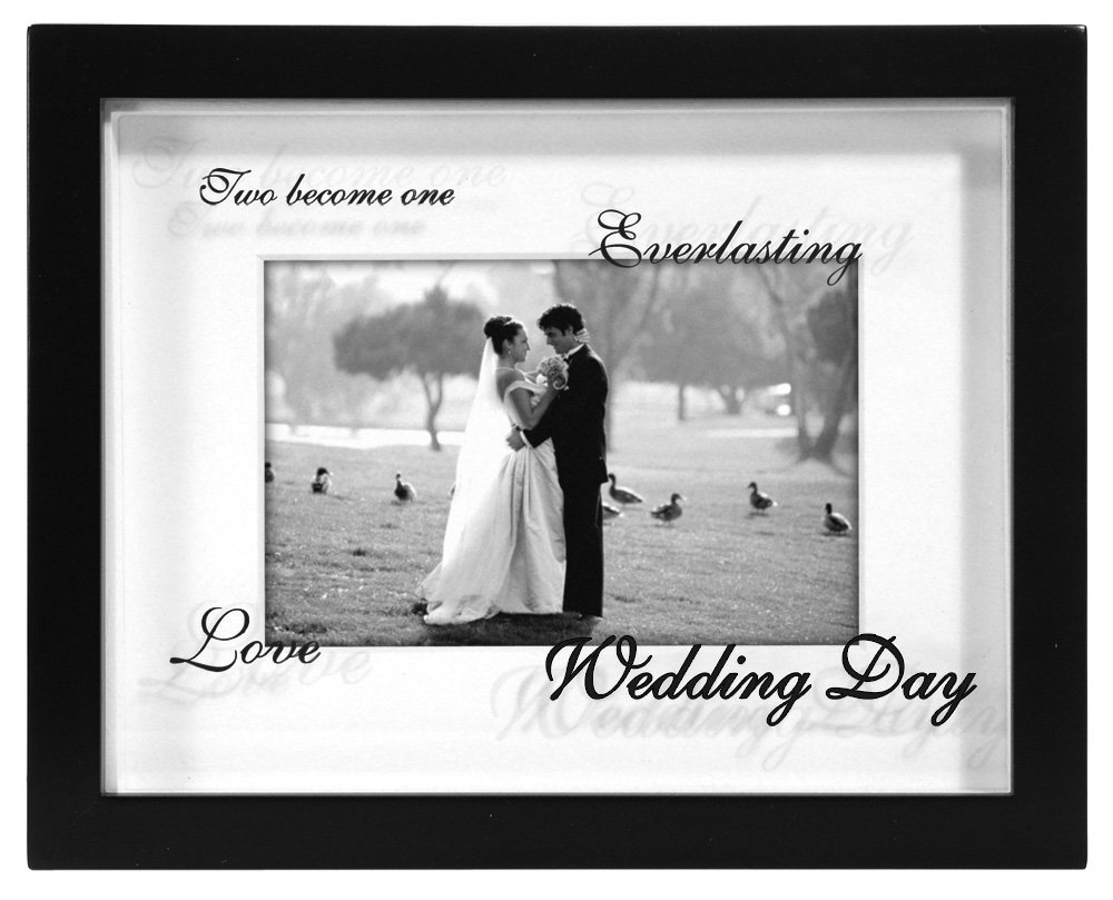Malden International Designs Wedding Shadow Box Reflections Picture Frame, 4 by 6-Inch, Matted Black 4051-46