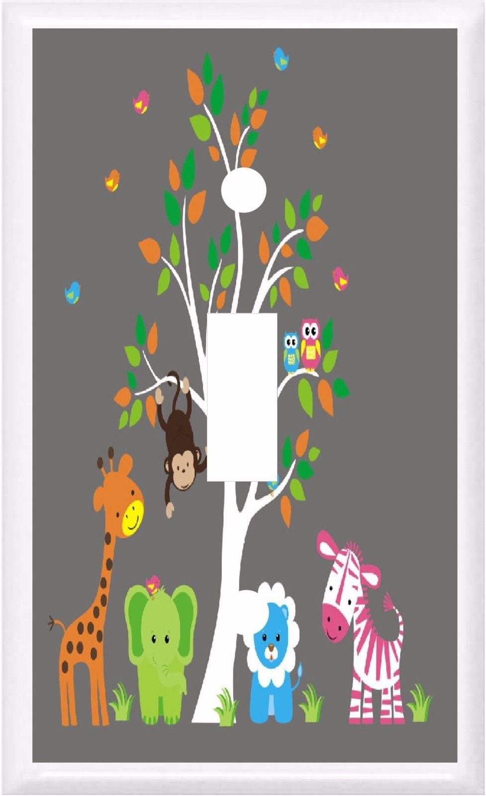JUNGLE BABIES ZOO ANIMALS CHILDREN NURSERY DECOR LIGHT SWITCH COVER PLATE OR OUTLET (1x Toggle)