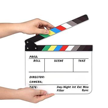 AFAITH Claqueta Plástica acrílica de Cine Seco y Borrado Director film clapboard (9.85x 11,8 pulgadas) con los palillos del color Blanco SA009