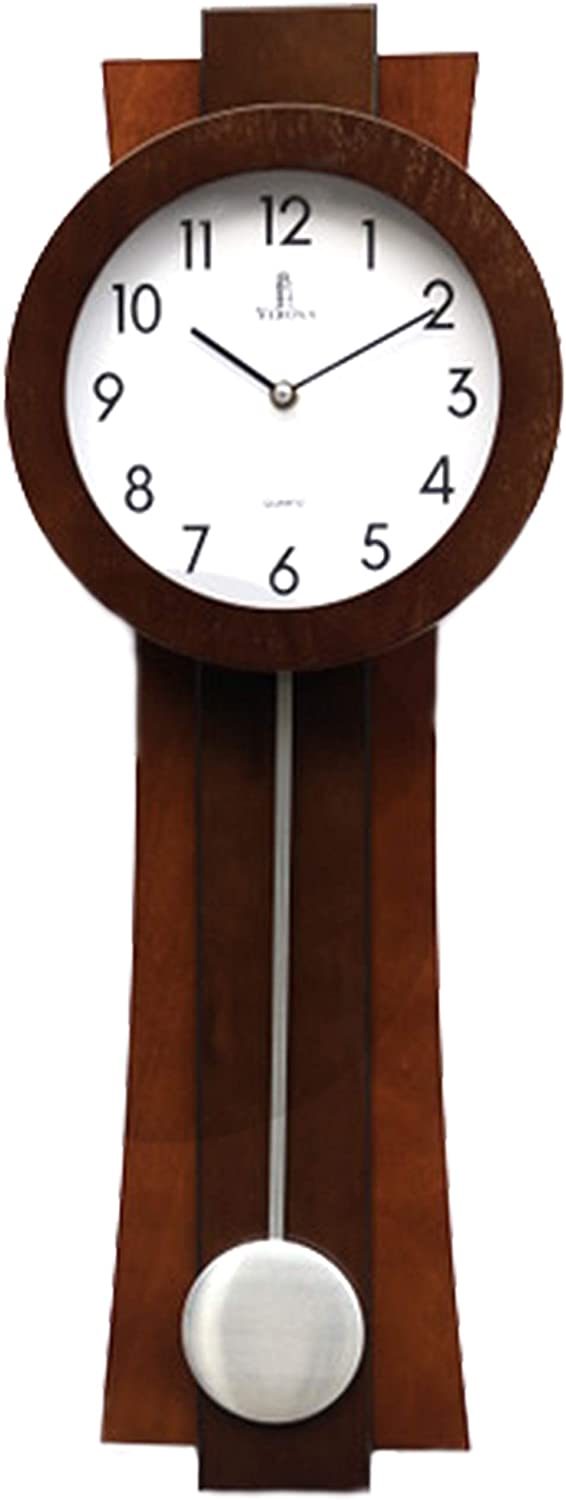 Pendulum Wall Clock Battery Operated - Quartz Wood Pendulum Clock - Silent, Modern Wooden Design, Decorative Wall Clock Pendulum for Living Room, Office, Kitchen & Home Décor Gift