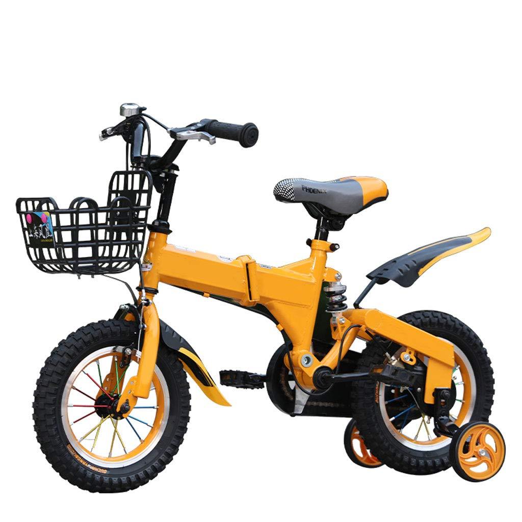 Bicicletta Per Bambini 2-4-6-7-8-9-10 Anni Ragazzo Pieghevole 12 14 16 18 Pollici con Ruota Ausiliaria (Misura  12 Pollici)