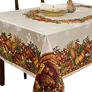 Benson Mills Harvest Splendor Engineered Printed Fabric Tablecloth, 60-Inch-by-84 Inch