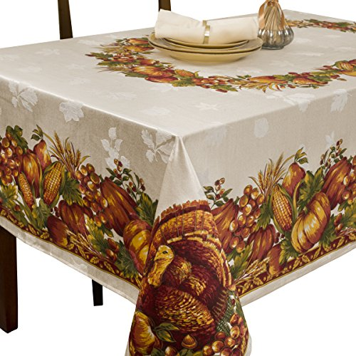 Harvest Tablecloth - Benson Mills Harvest Splendor Engineered Printed Fabric Tablecloth, 60-Inch-by-120 Inch