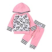 2Pcs Newborn Baby Girls Hand-painting Heart Tops Hoodies Pants Outfits Set (6-12M, Pink)