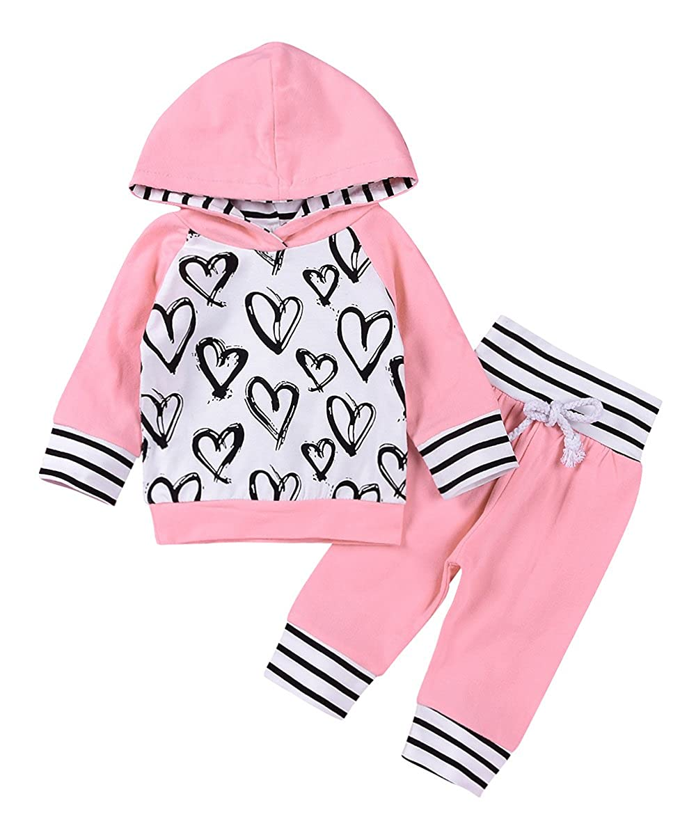 2Pcs Newborn Baby Girls Hand-painting Heart Tops Hoodies Pants Outfits Set Pink)