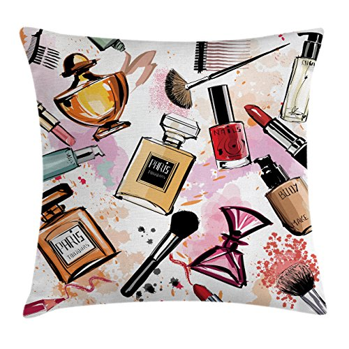 Girly Decor Throw Pillow Cushion Cover by Ambesonne, Cosmetic Make Up Theme Pattern Perfume and Lipstick Nail Polish Brush Modern City, Decorative Square Accent Pillow Case, 16 X 16 Inches, Multi - Girly Pillow