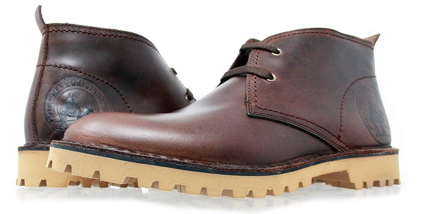 Antique braun PORTMANN Originals  Herren Classic Desert Stiefel   Geöltes Chukka-Leder   Extra leichte Sohle   Handgefertigt in Portugal.