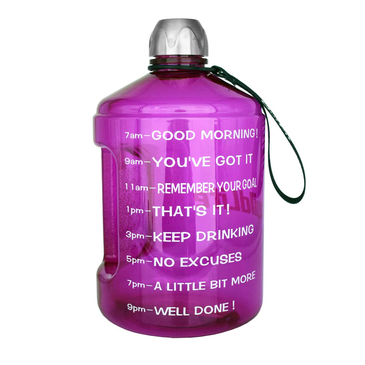 ETDW Gallon BPA Free Water Bottle with Time Marker and Straw 3.78//2.2 Litre Big Water Jug with Handle Leakproof Daily Water Intake Bottle Pop Up Open