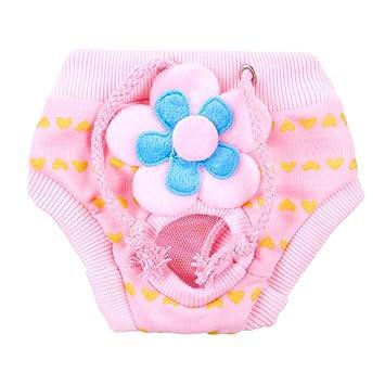 UEETEK Perro Pet Pañal Sanitario Fisiológico Pantalones Lavable Femenino Perro Pantalones Cortos Menstruación Ropa Interior Tamaño