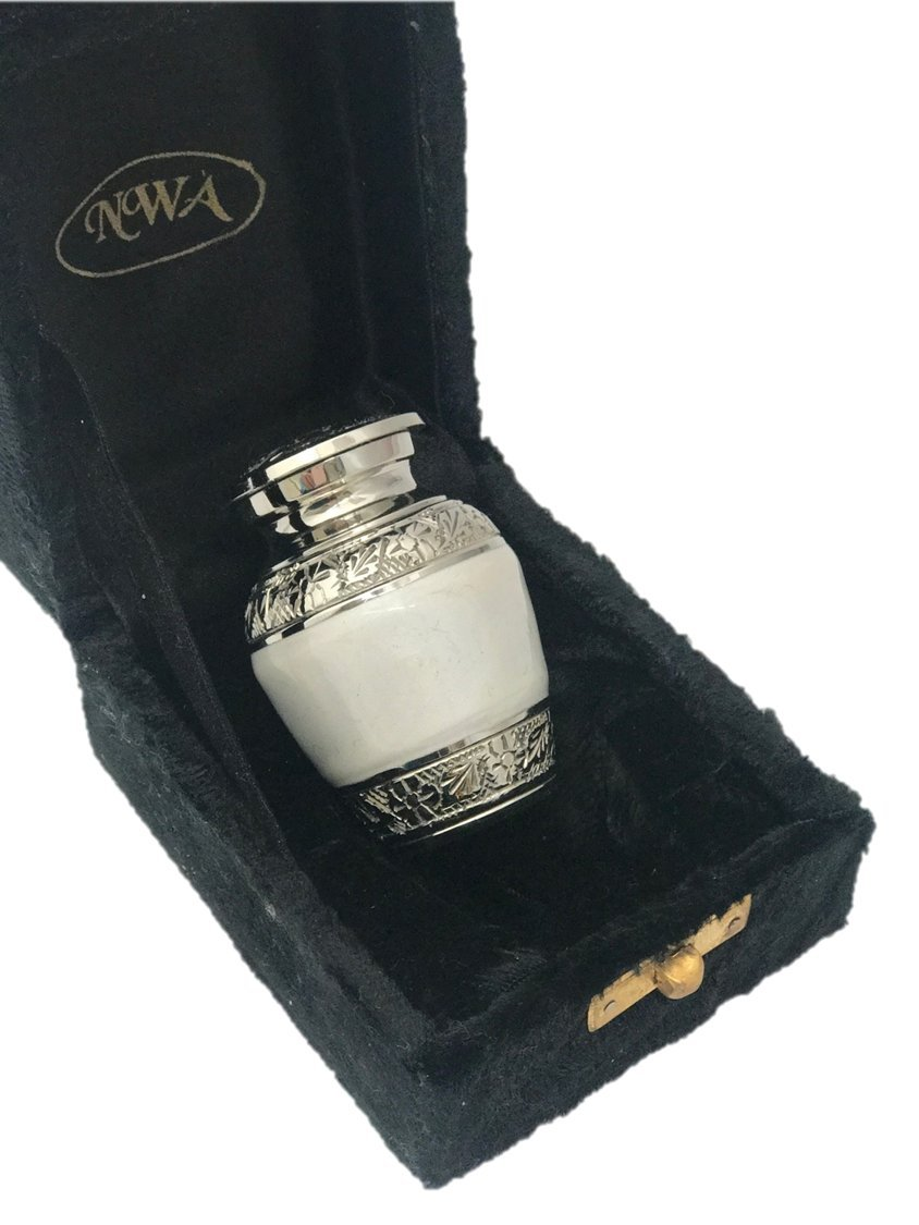 Pearl White Keepsake Urn, Solid Brass Funeral Cremation urn, Ash Urn with box -Small