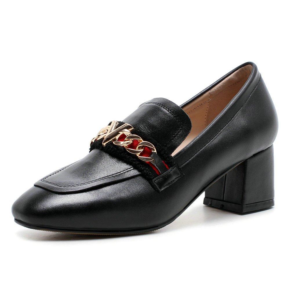 AnMengXinLing Loafer Pumps Schuhe Frauen Karree Mitte Metallkette Block Mitte Karree Ferse Echtleder Schlüpfen Damen Lässige Schuhe Schwarz ab9385