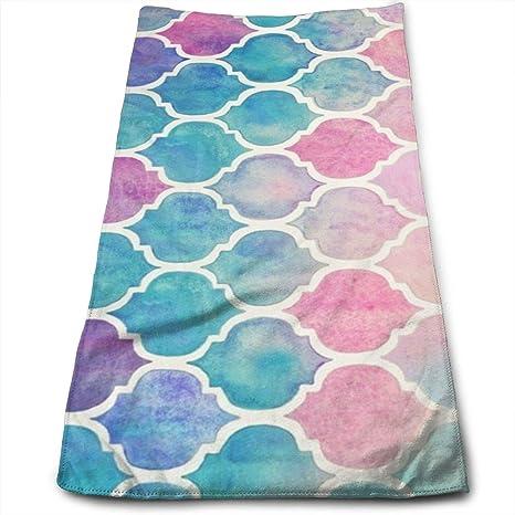 "ewtretr Toallas De Mano,Rainbow Pastel Watercolor Moroccan Pattern Microfiber Large 11.8""X27."