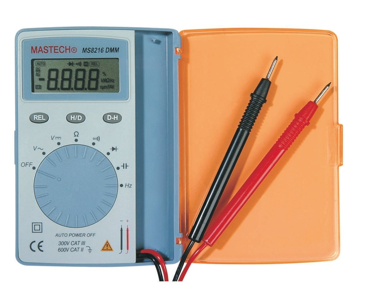 Mastech MS8216 Super Slim Pocket Size Auto Range Digital Multimeter AC/DC Voltage Caps. Freq. and Resistor Checking