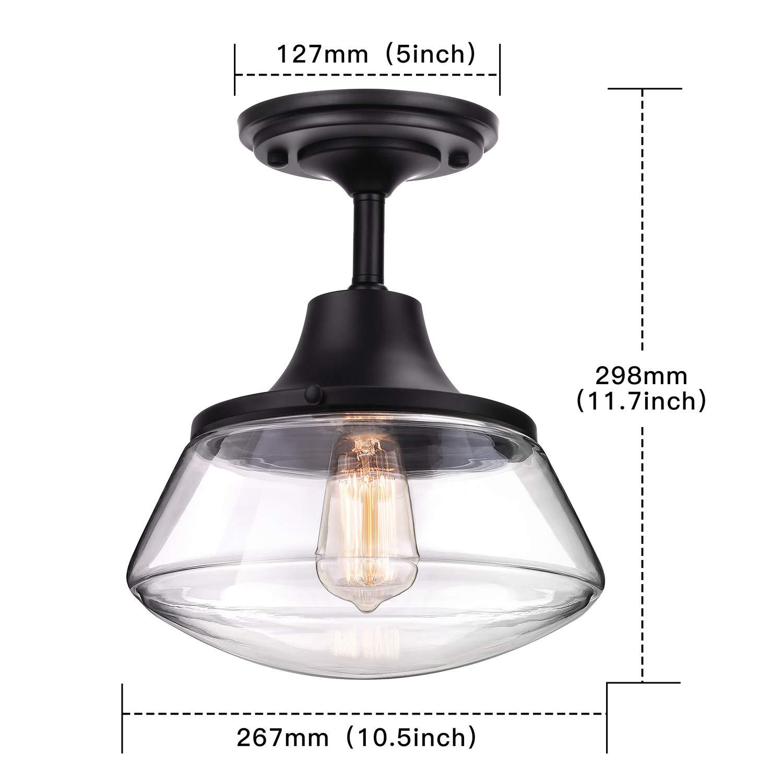 Petronius industrial semi flush mount ceiling light farmhouse lighting clear glass pendant lighting shade edison vintage style hanging lights