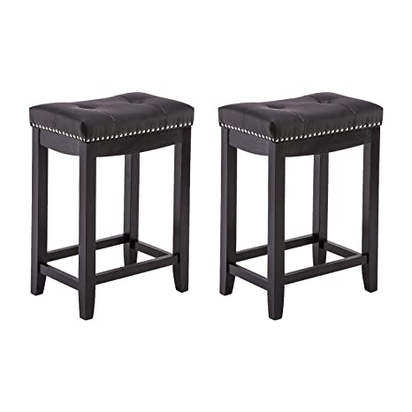 Sensational Yeefy Leather Bar Stools Set Of 2 24 Counter Height Stools Mid Century With Solid Wood Legs Pub Chair Black Gmtry Best Dining Table And Chair Ideas Images Gmtryco
