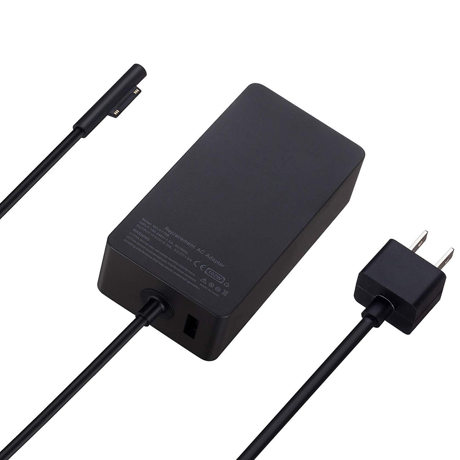 102W 15V 6.33A Power Adapter Charger for Microsoft Surface Laptop Surface Book 2 Surface Go Surface Pro 6 Pro 5 Pro 4 Pro 3 with Additional USB Port and 6ft Power Cord by E EGOWAY (Image #3)