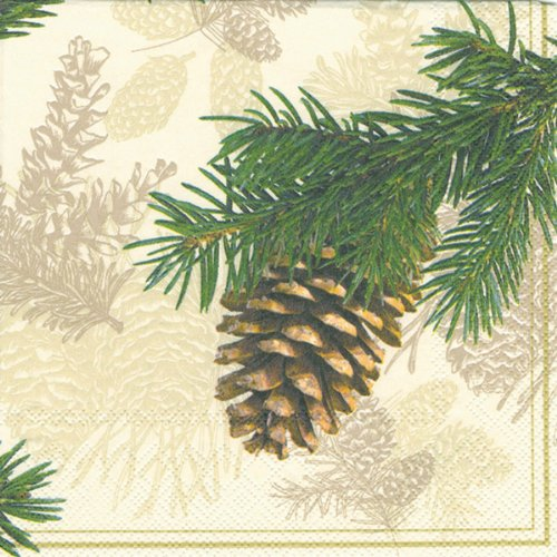 Ideal Home Range Luncheon Decorative Paper Napkins, Fir Cone on Cream, 20 Count -