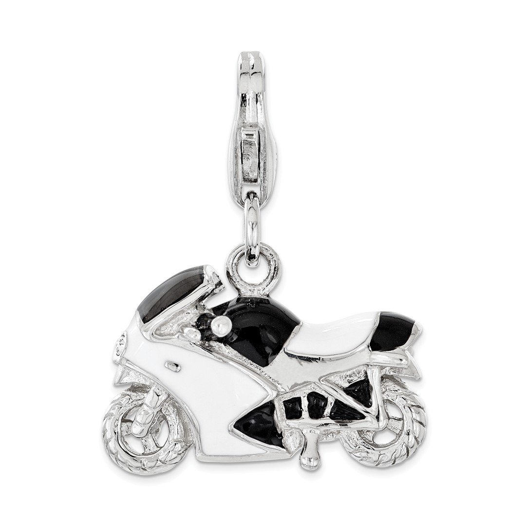 ICE CARATS 925 Sterling Silver Enameled Swarovski 3d Motorcycle Lobster Clasp Pendant Charm Necklace Travel Transportation Fine Jewelry Ideal Gifts For Women Gift Set From Heart