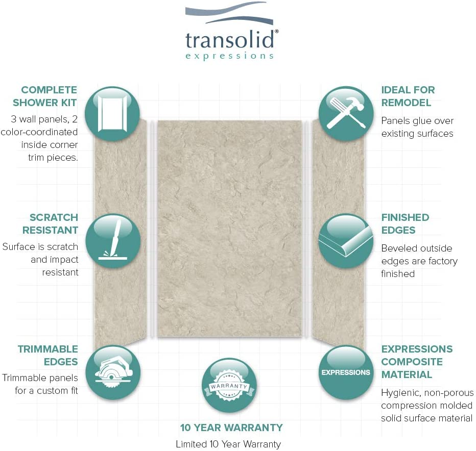 Bisque Transolid EWK606072-38 Expressions 3-Panel Shower Wall Kit 60-in L x 60-in W x 72-in H