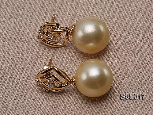jyx 13mm doré mer du sud perle Boucles d'oreilles clous or 18K avec pois avec diamants
