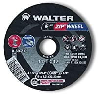 """Walter Surface Technologies 11T042A High Performance Cut-Off Wheel, Type 1, Round Hole, Grit A-60-ZIP, 3/64"""" Thick, Aluminum Oxide, 13300 rpm, 4-1/2"""" Diameter, 7/8"""" Arbor (Pack of 10)"""
