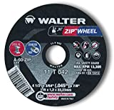 Walter Surface Technologies 11T042A High Performance Cut-Off Wheel, Type 1, Round Hole, Grit A-60-ZIP, 3/64'' Thick, Aluminum Oxide, 13300 rpm, 4-1/2'' Diameter, 7/8'' Arbor (Pack of 10)