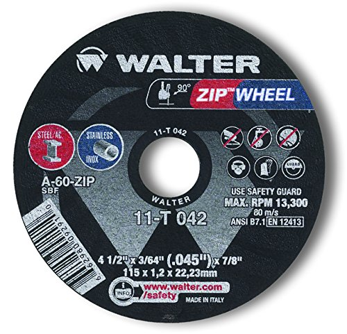 Walter Surface Technologies 11T042A High Performance Cut-Off Wheel, Type 1, Round Hole, Grit A-60-ZIP, 3/64