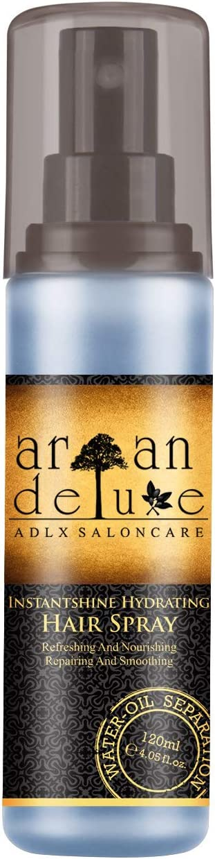 Spray desenredante bifase de cabello con calidad de peluquería de Argan Deluxe, 120ml. fórmula de cuidado desenredante altamente