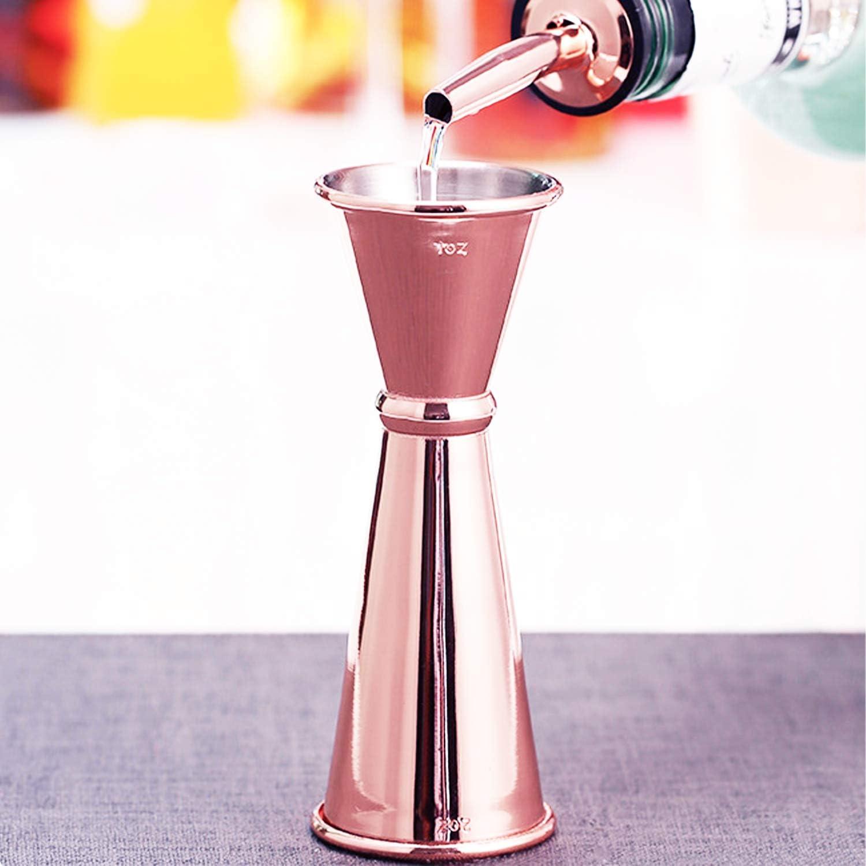dimensioni: 12,24,6 cm colore: oro rosa Misuratore di vino in vetro a doppia oncia in acciaio inossidabile 30 // 60ml materiale: acciaio inossidabile