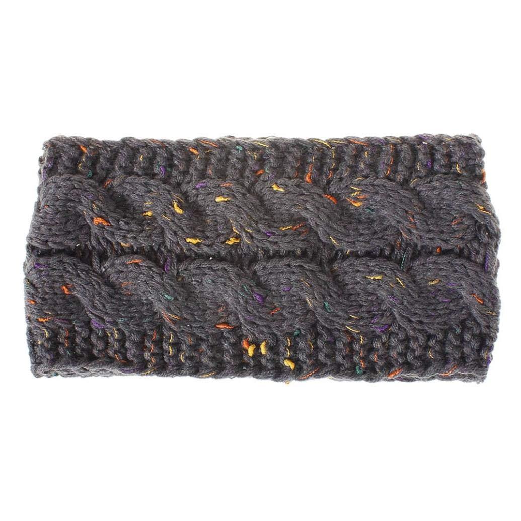 SUKEQ Women Fashion Winter Crochet Knit Headband Chunky Knitted Headwrap Hair Band Ear Warmer (Gray)