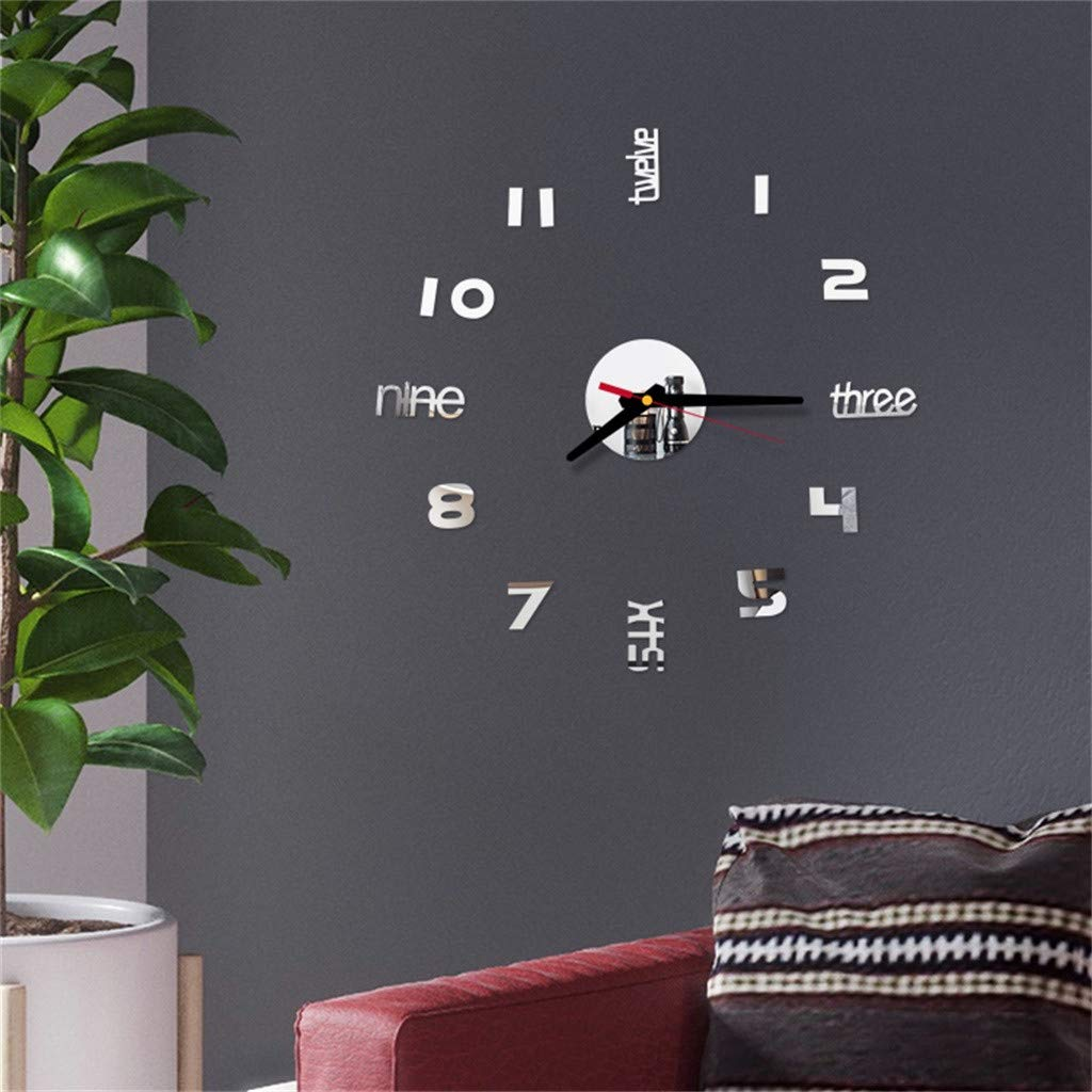 Clock Wall Decor Living Room Decor,Quaanti Clearance Sale! Large DIY 3D Frameless Modern Wall Clock Mirror Numbers Stickers Surface Home Decor Room Decorations (Silver)