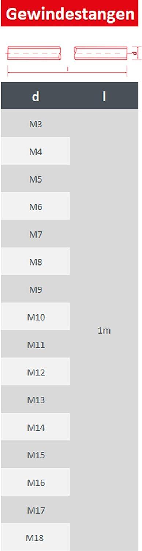 2 St/ück Gewindestange 1 Meter Gewindestab 1000 mm rostfrei FASTON Gewindestangen M12 Edelstahl A2 V2A