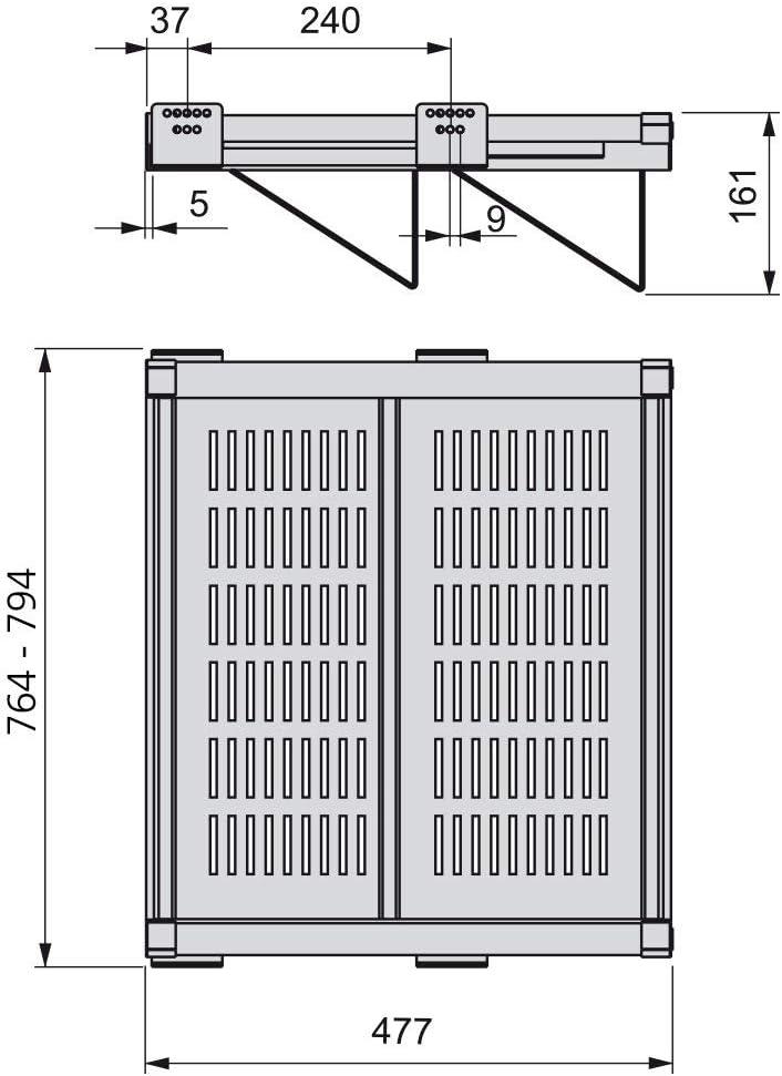 Larghezza Regolabile 564-594mm acciaio Verniciato Moka Emuca 7087213 Scarpiera Ausiliare Estraibile con Chiusura Ammortizzata per Armadio