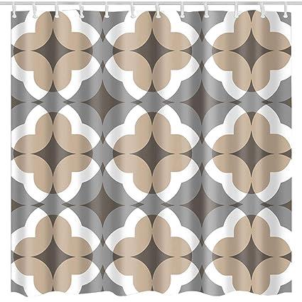 BROSHAN Bohemian Stripe Shower CurtainGeometric Modern Tan Boho Striped Art PrintWaterproof Polyester