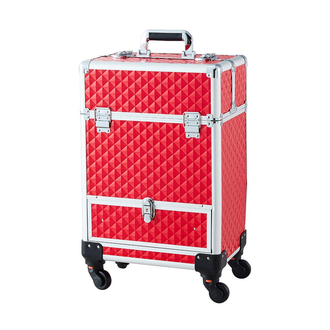 Makeup Case - Professional Rolling Cosmetic Travel Storage With Folding Trays and Drawer Crystal Red