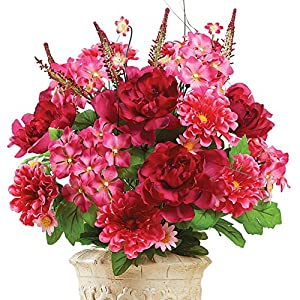 Artificial Mixed Floral Bouquet Planter or Vase Pick Stem - For Indoor Outdoor Use, Rose 108