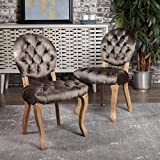 Bushwood Tufted Velvet Dining chairs | Elegant Dining Room Furniture with Victorian Accents | Two (2) Chair Dining Set | Perfect for Formal Dinner Parties