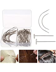 70Pcs Wig T Pins C Curved Needles Hair Weave Needles For Blocking Knitting Modelling Macrame Holding Wigs DIY Hair Style Tool with Plastic Box Strong Durable Easy to Insert and Remove
