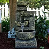 Cheap Sunnydaze Ancient Cascading Bowls Outdoor Water Fountain, 33 Inches