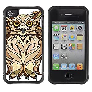 Hybrid Anti-Shock Defend Case for Apple iPhone 4 4S / Owl