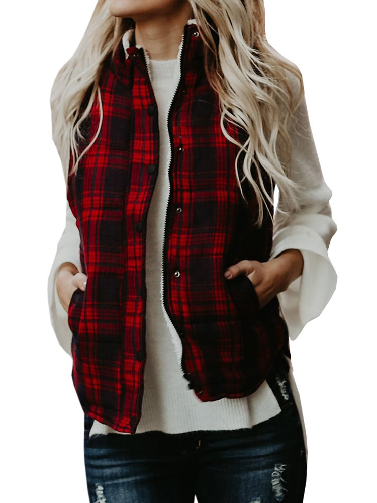 Sibylla Women's Casual Slim Fall Lightweight Plaid Down Vest Outdoor Puffer Quilted Vest Jacket with Zipper (Small, Red-1)
