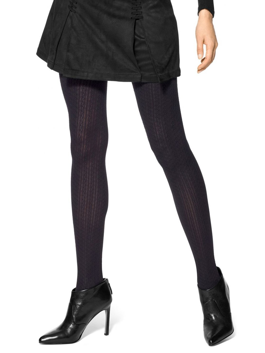 Hue Women's Cable Control Top Tights, Black, S/M