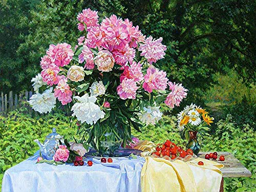 5D Full Drill Diamond Painting by Number Kits, Flower Wall Décor Rhinestone Embroidery Cross Stitch DIY Canvas Painting Pictures Arts Craft for Kids Adults