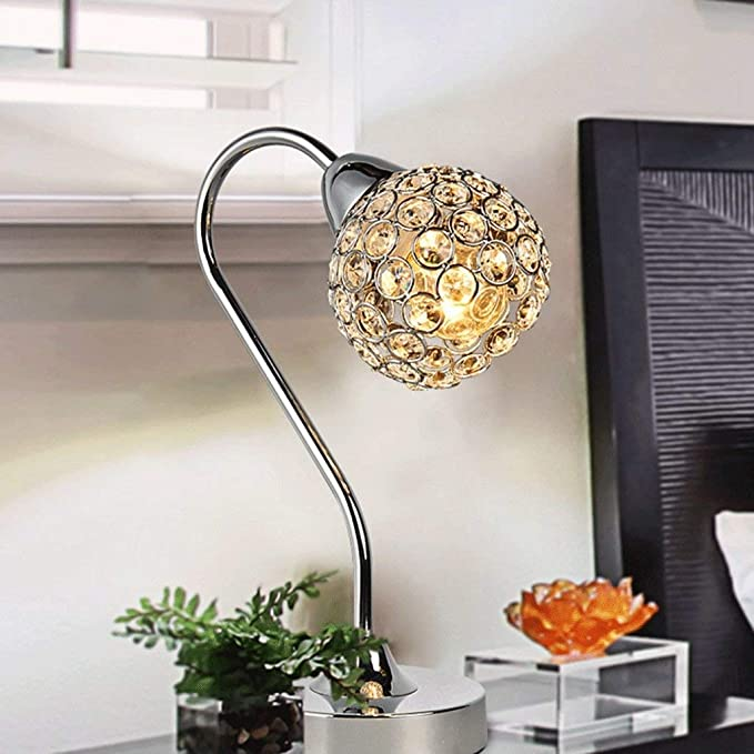 ... Table Lamp Modern Contemporary Chrome Crystal Decoration Fashion Table Bedside Crystal Ball Study Room Living Room Led Curved Table: Sports & Outdoors