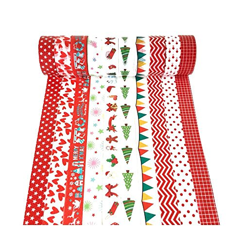 XYBAGS Christmas Decorative Washi Tape,Set of 10 Rolls, Assortment of Christmas Holiday Designs & Shapes (Style E)