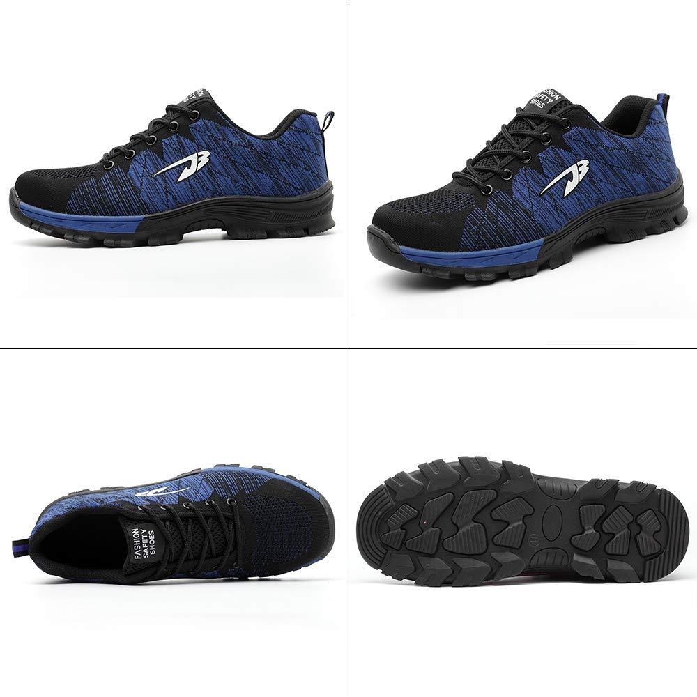Gainow Scarpe da Lavoro da Uomo per Uomo Scarpe Antinfortunistiche in Acciaio con Protezione Leggera e Traspirante, Blu 35