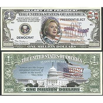 Donald Trump Hillary Clinton /'President Who/' Million Dollar Novelty Bill 2016